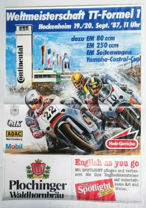 "HOCKENHEIM TT F1 1987 Bike Racing Original period poster 32x32""(820 x 600mm)"